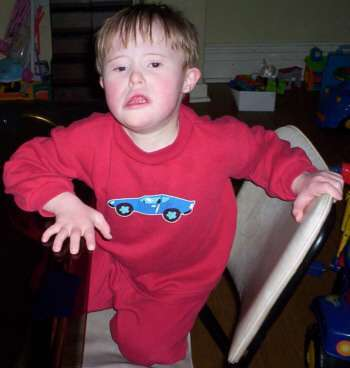 Jacob, age 5, a kid with Down Syndrome, who this time looks very Down Syndromey
