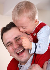 Dad, with son with Down syndrome