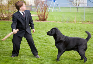 Older child with Down syndrome playing with dog