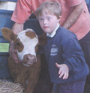Jacob, aged 6 years, petting a visiting cow at school - kids with Down Syndrome are able to participate in all activities within a school if properly supported.