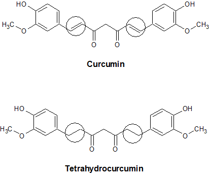 molecular difference between curcumin and tetrahydrocurcumin
